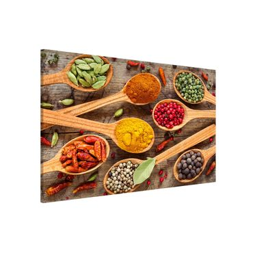 Lavagna magnetica - Spices On Wooden Spoon - Formato orizzontale 3:2