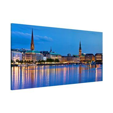 Lavagna magnetica - Hamburg Skyline - Panorama formato orizzontale