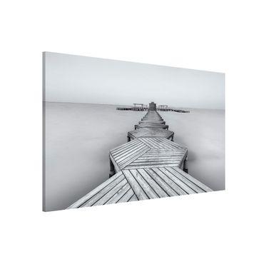 Lavagna magnetica - Molo in legno Bianco e nero - Formato orizzontale 3:2