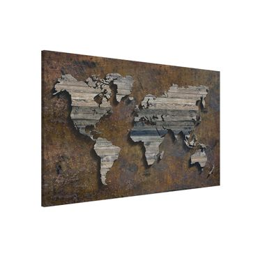 Lavagna magnetica - Wooden Grid World Map - Formato orizzontale 3:2