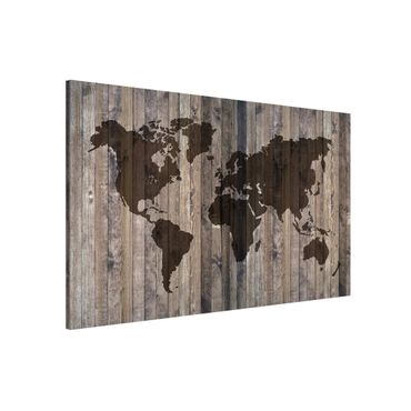 Lavagna magnetica - Wood World Map - Formato orizzontale 3:2