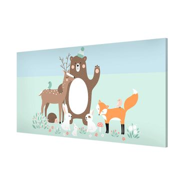 Lavagna magnetica - Kids Pattern Forest Friends With Forest Animals Blue - Panorama formato orizzontale