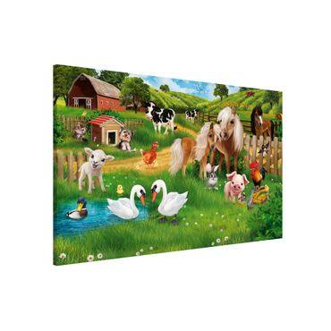 Lavagna magnetica per bambini - Animal Club International - Animali nella fattoria - Formato orizzontale 3:2