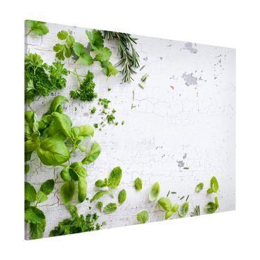 Lavagna magnetica - Herbs On Wooden Shabby - Formato orizzontale 3:4