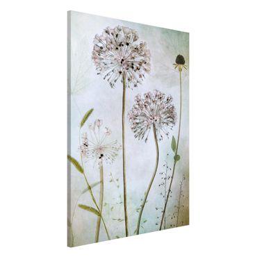 Lavagna magnetica - fiori Allium a pastello - Formato verticale 2:3