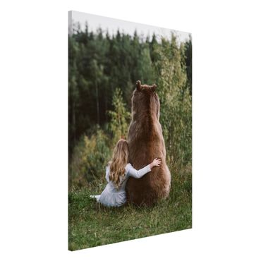 Lavagna magnetica - Ragazza Con Brown Bear - Formato verticale 2:3