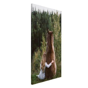 Lavagna magnetica - Ragazza Con Brown Bear - Formato verticale 4:3