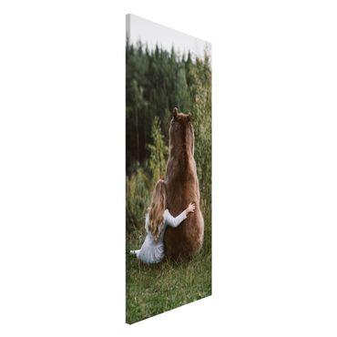 Lavagna magnetica - Ragazza Con Brown Bear - Panorama formato verticale