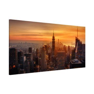 Lavagna magnetica - Manhattan Skyline Evening - Panorama formato orizzontale