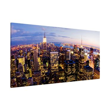 Lavagna magnetica - New York Skyline At Night - Panorama formato orizzontale