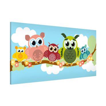 Lavagna magnetica - No.CG216 Owl Family - Panorama formato orizzontale