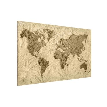 Lavagna magnetica - Paper World Map Beige Brown - Formato orizzontale 3:2