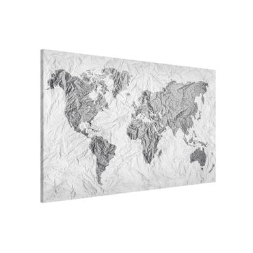Lavagna magnetica - Paper World Map White Gray - Formato orizzontale 3:2