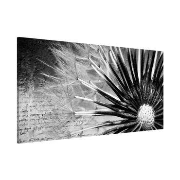 Lavagna magnetica - Dandelion Black & White - Panorama formato orizzontale