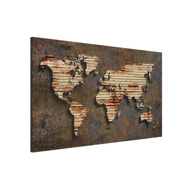 Lavagna magnetica - Stainless World Map - Formato orizzontale 3:2