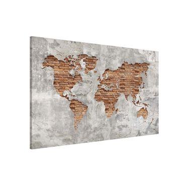 Lavagna magnetica - Shabby Concrete Brick World Map - Formato orizzontale 3:2