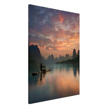 Lavagna magnetica - Alba sul fiume cinese - Formato verticale 2:3