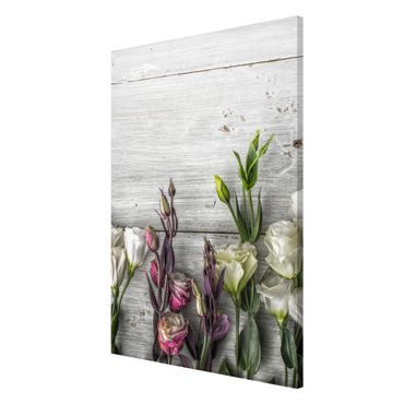 Lavagna magnetica - Tulip Rose Shabby Wood Look - Panorama formato verticale