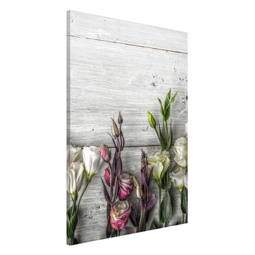 Lavagna magnetica - Tulip Rose Shabby Wood Look - Formato verticale 3:2