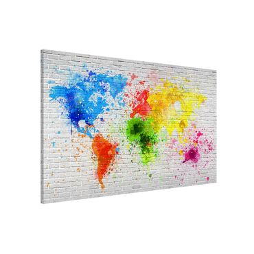 Lavagna magnetica - White Brick Wall World Map - Formato orizzontale 3:2