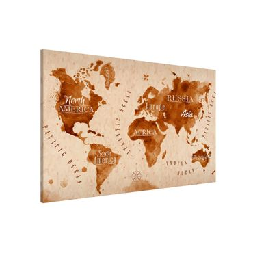Lavagna magnetica - World Map Watercolor Beige Brown - Formato orizzontale 3:2
