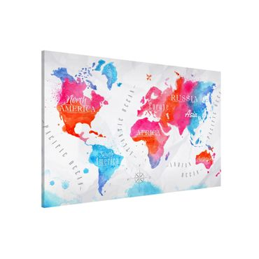 Lavagna magnetica - World Map Watercolor Red Blue - Formato orizzontale 3:2