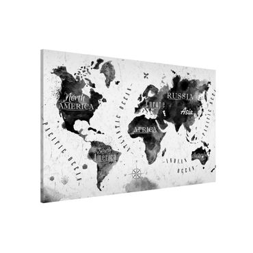Lavagna magnetica - World Map Watercolor Black - Formato orizzontale 3:2