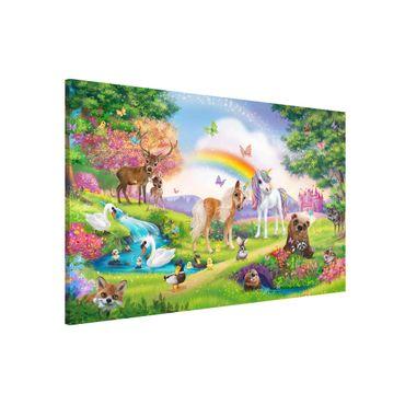 Lavagna magnetica - Foresta Incantata Con Unicorni - Formato orizzontale 3:2