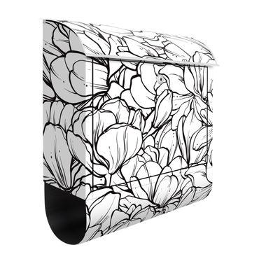 Cassetta postale - Mare di fiori di magnolia in bianco e nero
