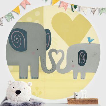 Carta da parati rotonda autoadesiva - Io e mia madre - gli elefanti
