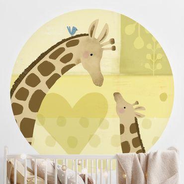 Carta da parati rotonda autoadesiva - Io e mia madre - giraffe