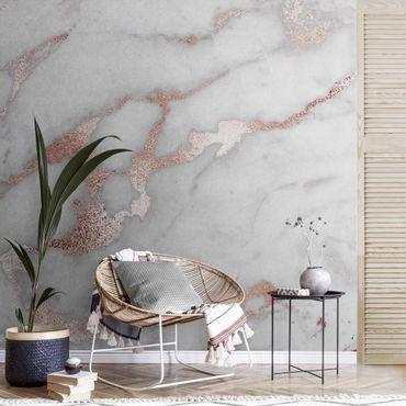 Carta da parati metallizzata - Effetto marmo con brillantini
