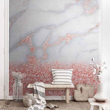 Carta da parati metallizzata - Effetto marmo con coriandoli rosa