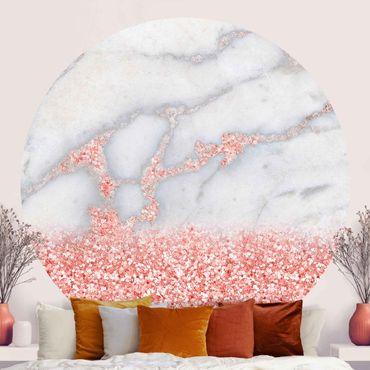 Carta da parati rotonda autoadesiva - Mamoroptik con confetti rosa