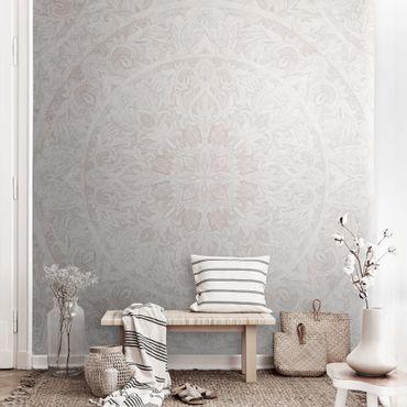 Carta da parati metallizzata - Ornamento mandala in acquerello beige