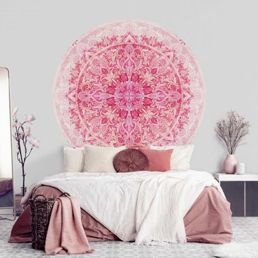 Carta da parati rotonda autoadesiva - Mandala Acquerello modello ornamento rosa