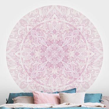 Carta da parati rotonda autoadesiva - Mandala Acquerello ornamento rosa