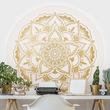 Carta da parati rotonda autoadesiva - Mandala fiore in oro bianco