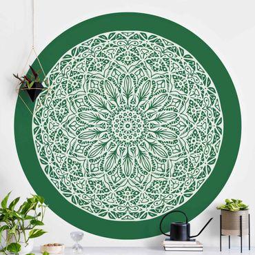 Carta da parati rotonda autoadesiva - Mandala Ornament dal verde