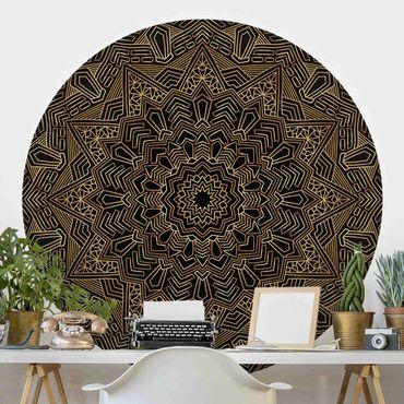 Carta da parati rotonda autoadesiva - Mandala stella del modello nero oro