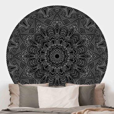 Carta da parati rotonda autoadesiva - Mandala stella modello nero argento
