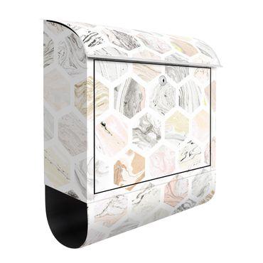 Cassetta postale - Esagoni di marmo in beige