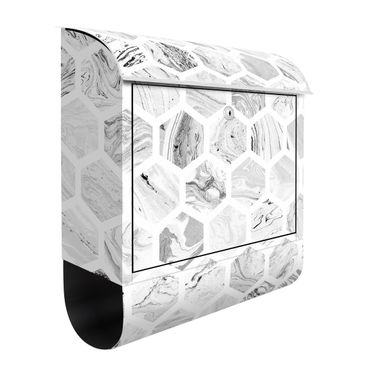 Cassetta postale - Esagoni di marmo in tonalità di grigio