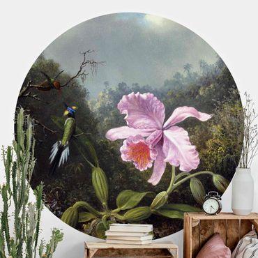 Carta da parati rotonda autoadesiva - Martin Johnson Heade - Natura morta con Orchidea e due colibrì