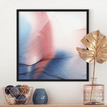 Poster con cornice - Danza di colori mélange in blu e rosso
