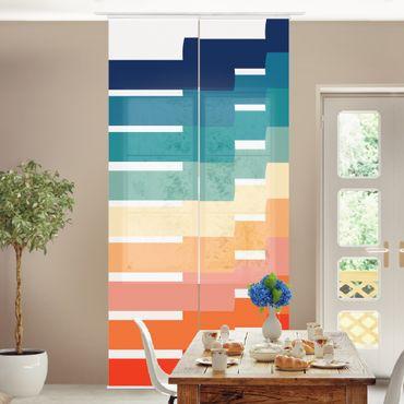Tenda scorrevole set -Moderna geometria arcobaleno - Pannello