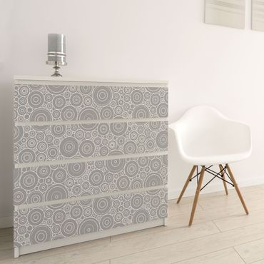 Carta Adesiva per Mobili - 60s retro circle pattern white light gray