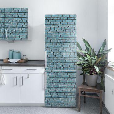 Carta Adesiva per Mobili - Brick tiles turquoise