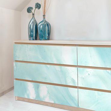 Carta adesiva per mobili - Emulsione Bianco e Turchese I