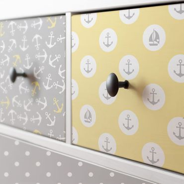 Carta Adesiva per Mobili - Maritimes caro set with anchors, stripes and dots